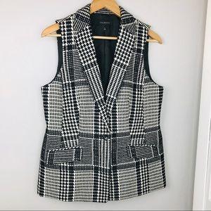 Talbots Wool Blend Black Houndstooth Vest